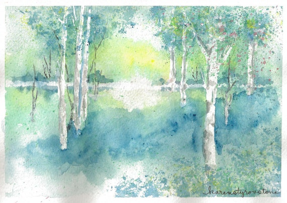 Landscape, blue, trees, sunrise, sunset, Print of my original watercolor...A Case of the Blues