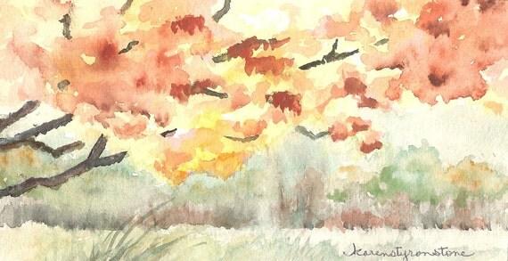 "Autumn, fall, leaves, Original Watercolor   ""Falling"""