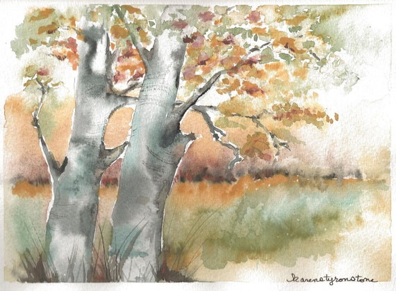 """Autumn, fall, leaves, love, Print of Original Watercolor  """"Growing Old Together"""""""