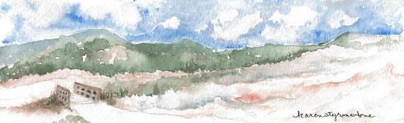 "Canyon, landscape, Original watercolor  ""Bommer Canyon Meadow"""