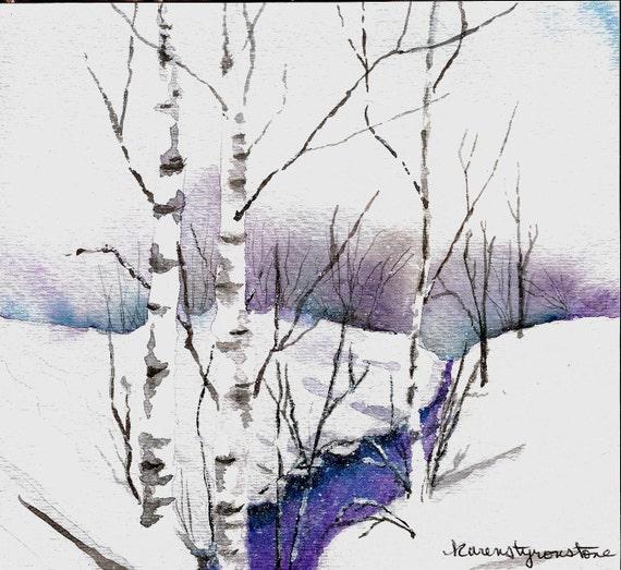 "Snowy, landscape, winter, creek, Print of Original Watercolor  ""Creek in Winter"""