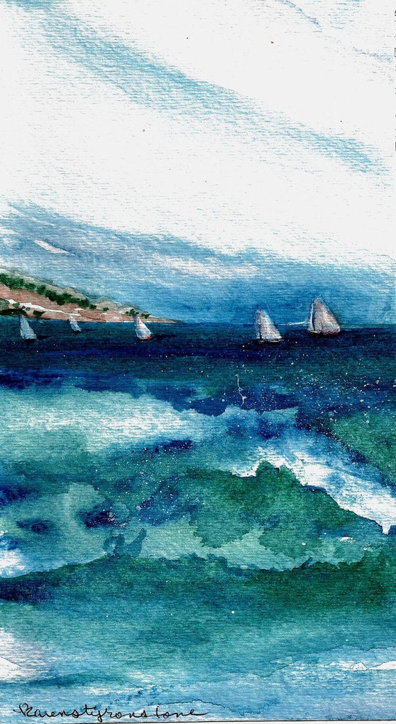 """Sailboat, sailing, Print of Original Watercolor """"The Other Side of the Cove"""""""