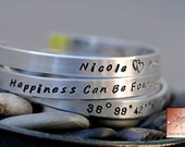 Made to Order - Personalized Hand Stamped Custom Narrow Aluminum Bracelet Cuff