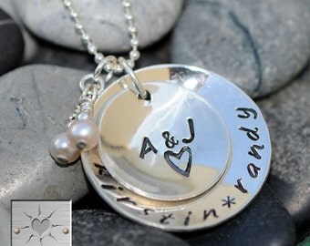 Hand Stamped Custom Sterling Silver Mommy Necklace