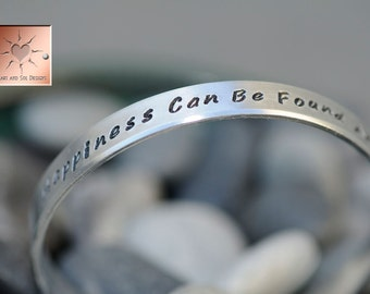 Personalized Hand Stamped Bracelet -  Custom Narrow Aluminum Cuff - Made to Order