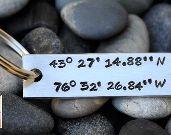 Handstamped Latitude and Longitude Key Chain - Personalized Hand Stamped - Anniversay - Wedding - Birth Announcement