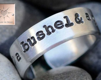 A Bushel and A Peck - Made to Order - Personalized Hand Stamped Ring Custom Adjustable
