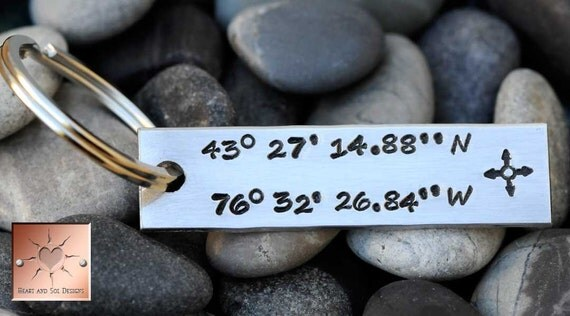 Customize A Keychain - Personalized - Latitude and Longitude Key Chain - Father's Day - Graduation Gift