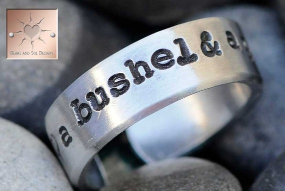 A Bushel and A Peck - Made to Order - Personalized Hand Stamped Custom Adjustable Ring