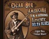 Antique Vintage Southern Americana- early Slide Bottleneck cigar box acoustic electric guitar & 3 string music Cd instrument playing