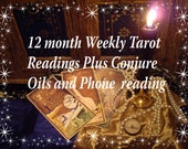 12 month Weekly Video Tarot Readings,  12 Conjure Candles and Hoodoo oils for you. JPG of reading is included