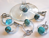 Sparkly Glass Bead and Seed Bead Toggle Clasp Wine Charms, Blue Beads - Great for Party Favors