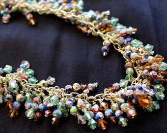 Unique Golden Cloisonne Cluster Necklace, Gold Chain