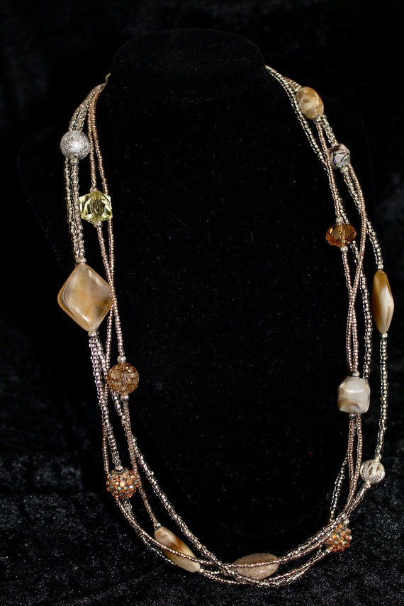 4 Strand Beaded Long Necklace With Seed Beads and Glass Accent Beads
