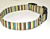 Striped Adjustable Dog Collar  Brown Green Teal Blue Stripes Pet collar XS 7-11 SHIPPING INCLUDED