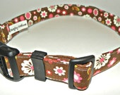 "Adjustable Dog Collar -  Brown With White & Pink Flowers  Size MEDIUM 12-19""  SHIPPING INCLUDED"