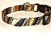 """Pet Collar Adjustable Dog Collar -  Brown, Black and Gold Swirls & Dots  Size LARGE 15-24"""" --- On Sale --- SHIPPING INCLUDED Clearance"""