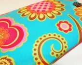 E Reader sleeve cover turquoise teal blue pink red floral flowers -  SHIPPING INCLUDED)