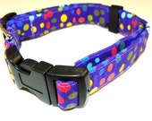"""Purple Dog Collar  -  With Colorful Polka Dots - Size XL  17-29"""" SHIPPING INCLUDED"""