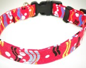 Red Dog Collar Geometric Stripes Polka Dots Yellow Black Blue White  XS 7-11 SHIPPING INCLUDED