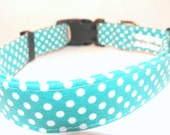 "Dog Collar Tiffany Blue Adjustable Turquoise Teal Green White Polka Dots   XS 7-11"" SHIPPING INCLUDED"