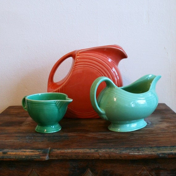 Collection of Vintage Fiesta ware Gravy Boat pitcher and creamer