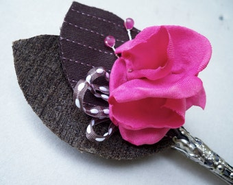 SHOP CLOSING SALE / Handmade Fabric Flower Boutonniere - Prom - Wedding