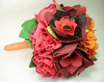 SHOP CLOSING SALE / Handmade Fabric Flower Bouquet // Alternative Bouquet //  Modern Bohemian