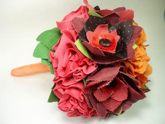 Handmade Fabric Flower Bouquet // Alternative Bouquet //  Bright Coral // Red // Pink