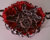 """12 1/4"""" Large Drawstring Jewelery Pouch - Black Damask and Red Satin"""
