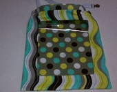 Gray with Lime Green, Cream, and Blue Dots and Wavy Stripes - Easy Find REVERSIBLE Car Storage Bag
