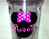 Pink Minnie Mouse Personalized Tumbler