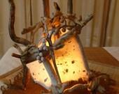"ECO Friendly Table Lamp: ""Sandy"" Natural Driftwood & Handmade Paper Light - OOAK"