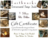 GIFT  C E R T I F I C A T E  Fifty Dollars - Handmade Eco Friendly Green Gifts - OOAK