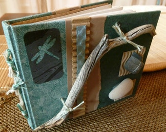 Handbound SMALL Blank Book/Journal - ECO-Upcycled-Green Products - OOAK