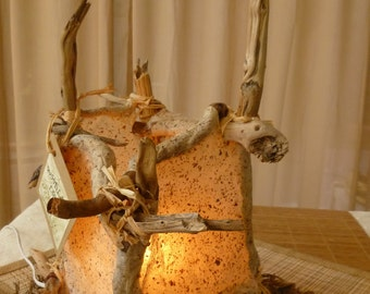 "ECO Friendly Table Lamp: ""Topanga"" Natural Driftwood & Handmade Paper Latern / Lighting-OOAK"