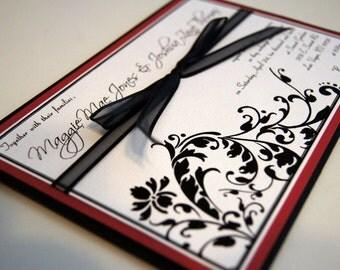 Jenna's Flourish Custom Pocket Wedding Invitation