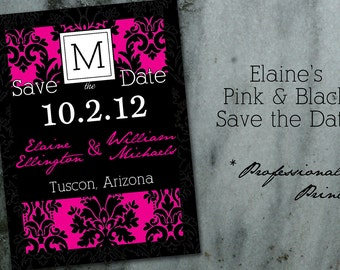 Elaine's Pink and Black Damask Save the Date QTY 25