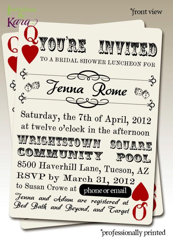 Jenna's Queen of Hearts Bridal Shower Custom Invitation