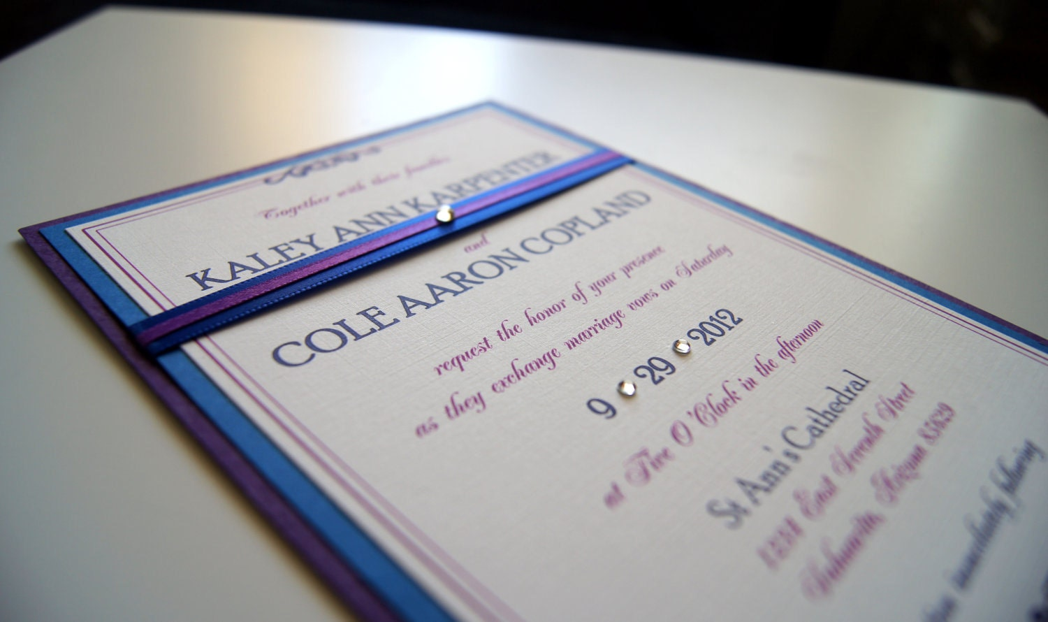 Wedding Invitations With Purple Ribbon: Kaley's Blue And Purple Ribbon Custom Wedding Invitation
