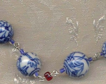 """ID Lanyared, Name-tag Holder,  Necklace,    Orential style blue & white  beads. 28"""""""