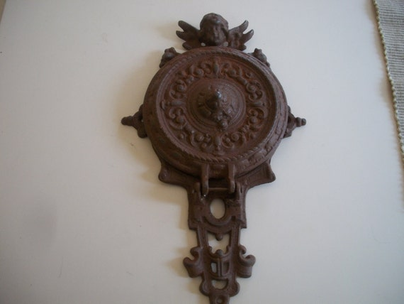 RESERVED For STEVE CROWE. Antique Iron Door  Knocker with angel.