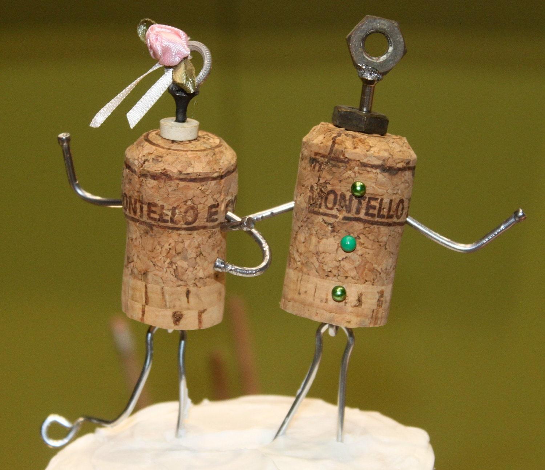 Whimsical Cork Wedding Cake Topper
