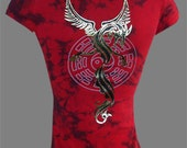 """Womens Top Red Tie Dyed V-Neck Shirt """"Year of the Dragon"""" Womans Top Size - Small, Medium, Large, XLarge, 2XL, 3XL Plus Size"""