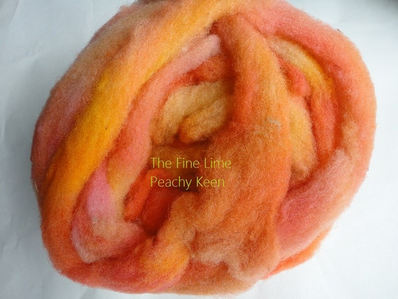 Hand Dyed Jacobs Wool Roving - Peachy Keen -  2.5 oz for Spinning, Felting