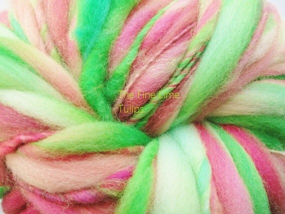 Merino Thick and Thin Handspun Pink and Green - Tulips - Hand Dyed Wool Yarn