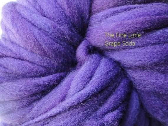 Thick and Thin Handspun Purple Merino Yarn - Grape Soda - Hand Dyed Wool Skein
