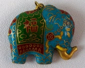 Vintage Chinese Cloisonne Enamal Elephant Pendant