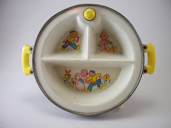 Vintage aluminum and plastic infant's warming dish by Excello