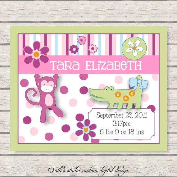 Whimsical Baby Nursery Wall Print 8x10 Announcement / Green Border